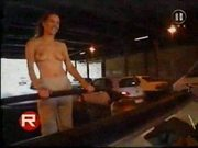 Public nude topless in cabrio