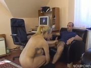 Big titty blonde gets slammed at desk
