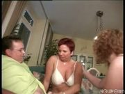 Two girls playing with big guys small dick