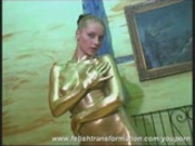 Girl Janine painted with gold 