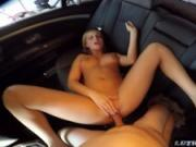 Sexy blonde gets covered in cum by driver