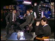 Three men watch the fucking show