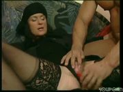 Older lady uses some sex toys and his cock