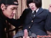 Bareback Japanese schoolgirl fucked till cum