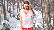 Carla slips off her red satin panties in the snow