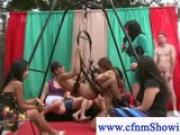 CFNM ladies sucking while swinging