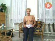 Inexperienced girl sticks dildo deep inside herself - Sascha Production