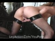 Babe in Stockings Whips Her Pussy