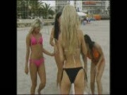 Glamour babes enjoying a game of volleyball