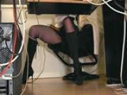 Under desk hidden cam masturbation