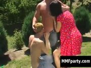 Horny bisexual MMF threesome outdoors