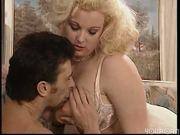 Rowdy peroxide blonde with giant jugs fucks guy