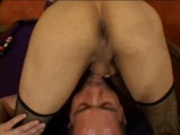 He kisses her feet while she jacks off HER cock pt2/3