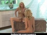 Two cute blondes in wild lesbo action
