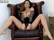Sexy brunette with big natural tits ready for fuck in latex boots and pvc