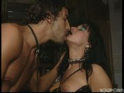 Darkhaired babe gets licked and fucked
