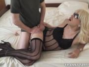Tight tranny holes destroyed by femdom wife