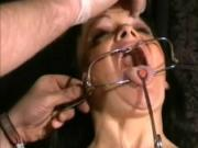 Face punished mature slave Chinas dental gagged sadomasochist torments and humiliating gaping pussy pain of old submissive in sexual domination