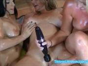 Trisha Uptown Gets Oiled Up For Live Show With Vicky Vette & Cleo!