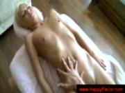 Blonde gets an orgasm by a massage toy