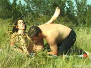 sexy brunette naked in the fields