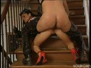 Lady in Leather Gets Laid