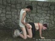 Public Sex couple by a fountain