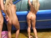 Nude carwash with lezbo undertones