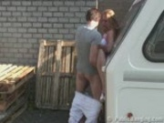 STREET SEX couple behing trailer. PART 2 