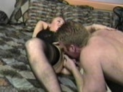 Two dudes start taking care of her needs and one finishes the job