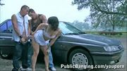 Threesome ON THE STREET by a car part 1