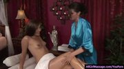 Beautiful massage therapist gives a Lesbo massage
