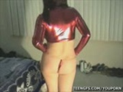 red mini skirt strip tease and blowjob 