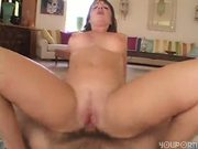 Horny girl loves his big cock any where he puts it