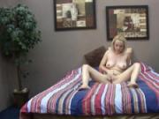 Petite blonde plays with dildo