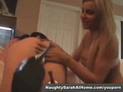 Lesbian play with huge cucumber