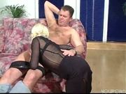 Hot blonde in black thigh highs sqeals while getting fucked