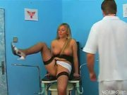 Doctor gets naked with horney blonde