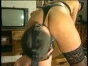 Kinky German sex with dildo on face