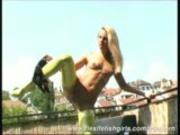 Pornstar Sandy posing flexible