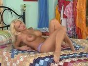 Gorgeous blonde Czech Stacey masturbates