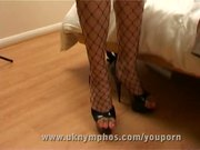 English secretary in fishnets fucks office guy