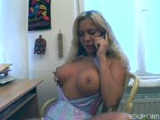 Busty blonde talks dirty on the phone - Sascha Production