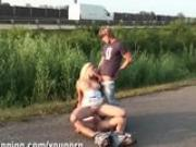 BEAUTIFUL GIRL and 2 HUNG guys in PUBLIC part 1