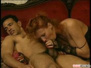 tender, romantic scene of redhead slurping down jizz