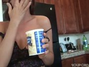 pornlygirl18 spreads vanilla frosting on herself