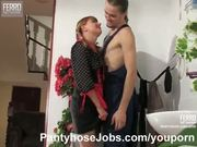 Pantyhose fetish sex with a maid