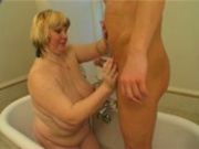 Julia and her huge tits getting all cleaned up for Marty