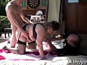 French mature Julia gangbanged in the garden