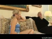 Babysitter sucking babies grandpa's dick